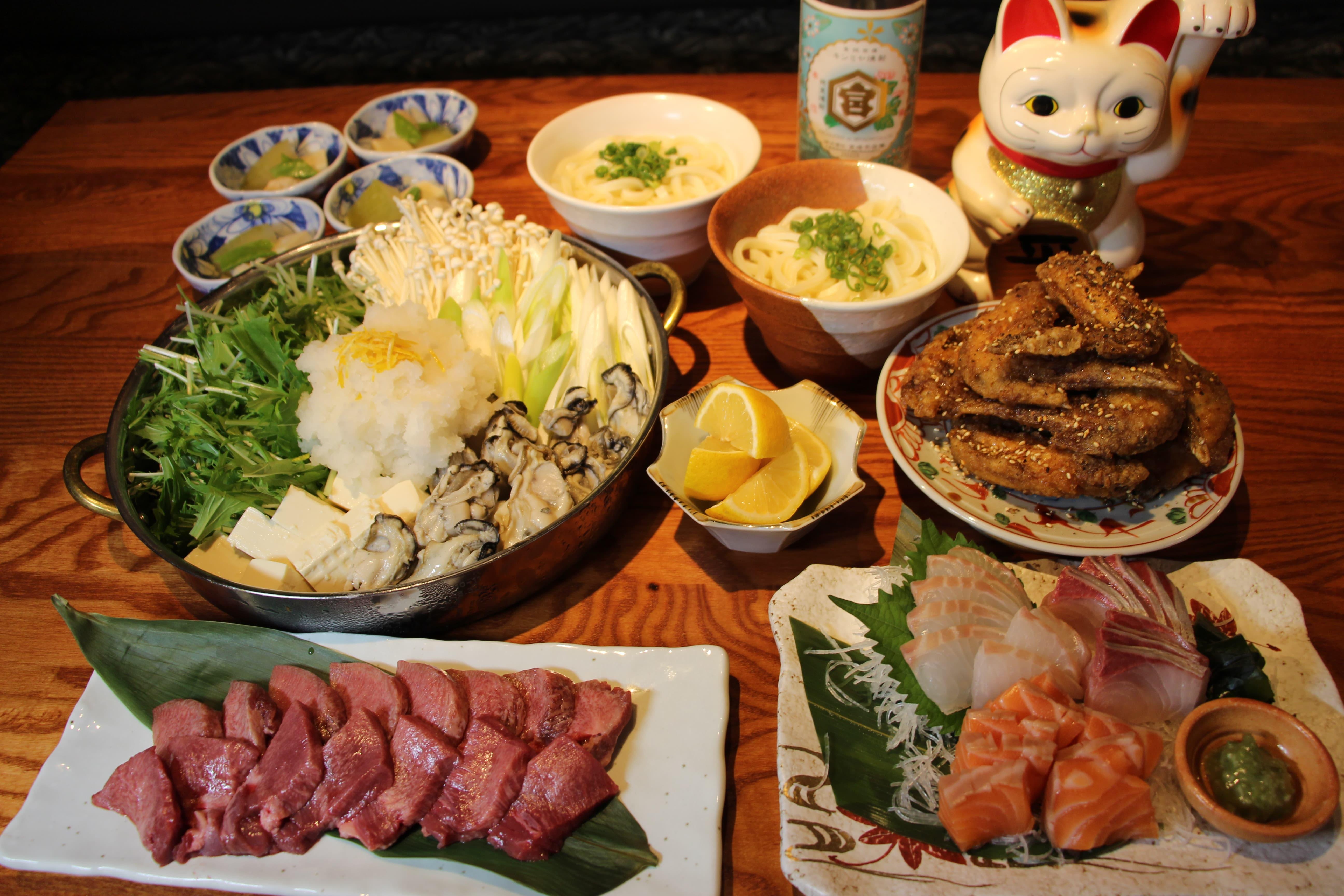 2000円<br /> 瀬戸内産!牡蠣とレモンのみぞれ鍋と上タンの厚切り焼肉コース