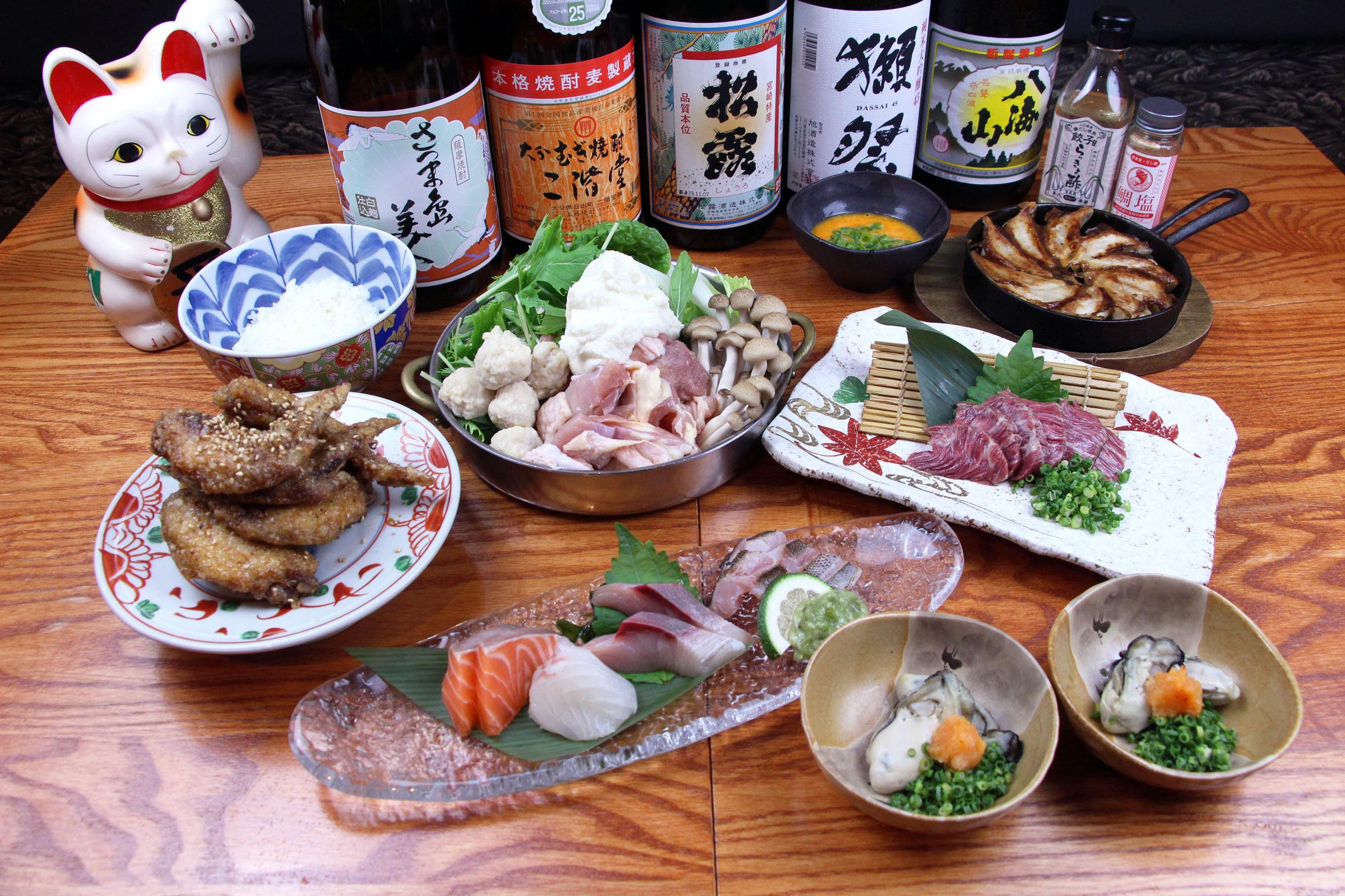 天然霜降り佐賀県産!みつせ鶏と野菜とろろ鍋の「平八食べつくしコース」